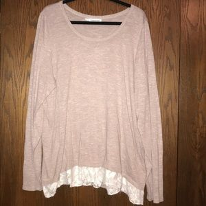 Maurices Mauve lace and back zipper sweater